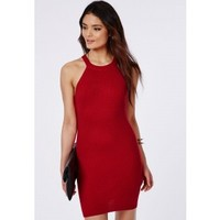 Missguided - Racer Neck Knitted Dress Red