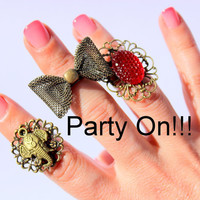 Bow Ring - Oversized Bow Knuckle Ring - Statment Knuckle Ring  - Cocktail Midi Ring -  by Tiny Box