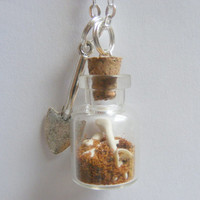 Halloween Grave Robbers Bottle Necklace Pendant - Miniature Food Jewelry