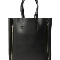 Black Tote Bag With Side Zipper - Choies.com