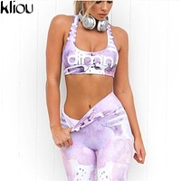 Kliou 2017 Fashion Fitness Workout Set Women Printed Crop Top High Waist Elastic Leggings Pants Tracksuit Sporting Activewear