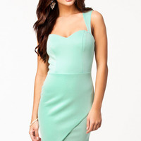 Mint Green Soft Padded Bodycon Dress with Wrap Front Hem