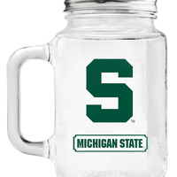 Michigan State Spartans Mason Jar Glass With Lid