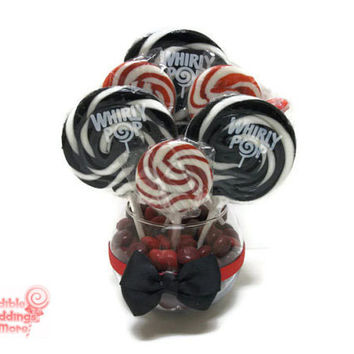 Small Red and Black Lollipop Centerpiece, Red, Black, Wedding, Centerpiece, Lollipop, Candy, Red and Black Wedding, Candy Centerpiece