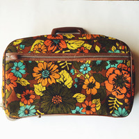 Vintage, 1960s ,Floral Soft Sided Suitcase, Brown, Yellow, Orange, Teal, Overnight
