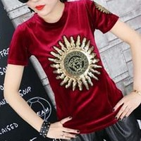 Versace Popular Women Leisure Tiger Head Letters Print Short Sleeve Velours T-shirt Top Wine Red