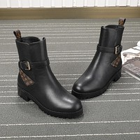 lv louis vuitton trending womens black leather side zip lace up ankle boots shoes high boots 236