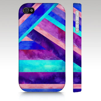 iPhone 4s case, iPhone 4 case, iPhone 5 case, watercolor geometric, tribal aztec, pink purple aqua turquoise,  art for your phone