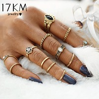 12pcs/set Women Fashion Vintage Punk Midi Rings  Antique Gold Color Boho Jewelry Knuckle Ring