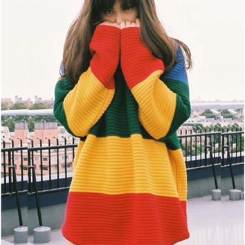 Women Knitted Pullovers Patchwork Rainbow Oversize Sweaters and Pullovers Christmas Sweater