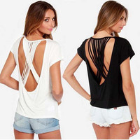 Fashion Hollow Crisscross Bandage Solid Color Backless Short Sleeve Women's T-shirt Tops