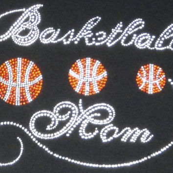 Basketball mom iron on hot fix rhinestone bling transfer - DIY motif design appliqué for shirts t shirts tees - custom hotfix