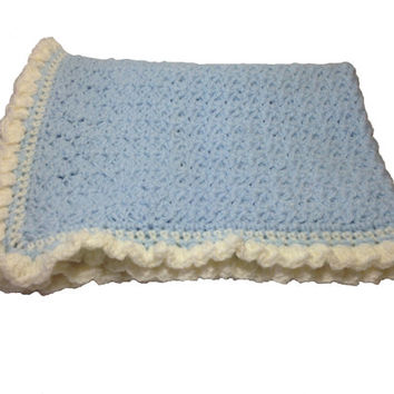 "Baby Blanket Hand Crochet, Baby blue with cream trim, Thick quality stitches, 16"" 41cm by 22.5"" 57cm, baby gift, baby shower, pram blanket"