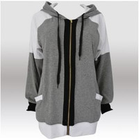 Grey and White Patchwork Drawstring Hoodie