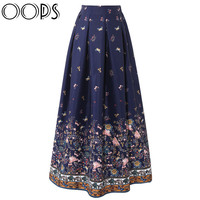 OOPS Women 100cm High Waist Maxi Skirts 2016 Vintage Floral Printed Pleated Floor-Length Long Skirts Saias Jupe Longue A1605014