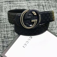 GUCCI Fashion Men Smooth Buckle Leather Belt
