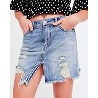 Free People - Relaxed & Destroyed Skirt in Blue