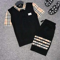 BURBERRY Summer Trending Men Casual Shirt Top Tee Shorts Set Two-Piece