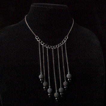 lava, black stone, and gunmetal short necklace // dark gunmetal toned chain with black bead pendants