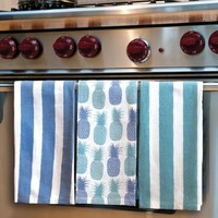 Pineapples and Stripes Beach House Blues Cotton Dish Towel Set of 3