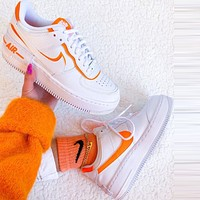 Onewel Nike Air Force 1 Shadow Fashion Women Casual Sport Running Shoes Sneakers White&Orange