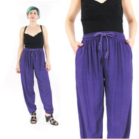 Vintage Slouchy Harem Pants Purple Drawstring Pants Genie Pants Ethnic Indian Yoga Pants Rayon Pants Elastic Waist Trousers (S/M)