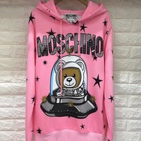 MOSCHINO HOT SALE Round neck letters printed loose long sleeve sweat