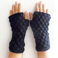 Christmas Sale 20 % OFF Black Arm Warmers, Knit Fingerless Gloves, women accessories with bow