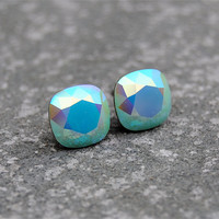 Aurora Borealis Mint Earrings Swarovski Crystal Rare by MASHUGANA