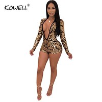 2019 New Gold Floral Sequins Sheer Mesh Jumpsuit Women Sexy Deep V Neck Long Sleeve Romper Bar Night Club Party Playsuit Outfits