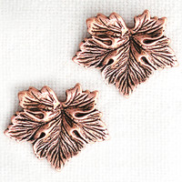 Maple Leaf Solid Copper Earring Studs with Hypoallergenic Steel Post and Clutches
