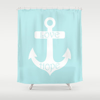 Love Hope Anchor Turquoise Blue Shower Curtain by Beautiful Homes
