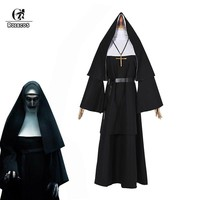 Cool ROLECOS Women Halloween Costume The Nun Cosplay Costume 2018 Horror Films Cosplay Cross Ghost Halloween Costume The ConjuringAT_93_12