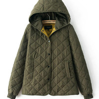 Hooded Plaid Accent Texture Padded Jacket