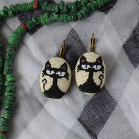 Earrings Handmade Cats Embroidery, jewelry, cotton, cross stitch earrings