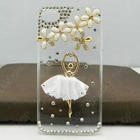 Fashion Pearl Flower  Ballet dancer  beautiful White Dance Skirt iphone 4 iphone 5 case