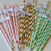 150 Engagement Party Paper Straws with Custom Flags / Personalized Straws / Engagement Party Straws / Party Straws / Custom Straws