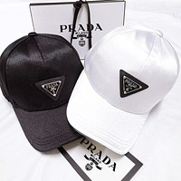 PRADA Trending Woman Men Print Sport Baseball Cap Black White Silk