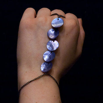 mermaid scale hand chain // semi iridescent purple shell beads on gunmetal toned chain
