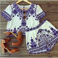 Fashion Two-piece blue and white porcelain printing dress