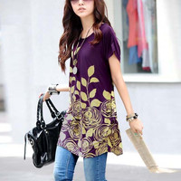 New Fashion Girl Short Sleeve Round Collar Loose Long T-shirt 4 Colors