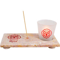 Root chakra - Carved Marble Incense & Votive Holder