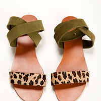 Leopard and Green shoes. open flat sandal.