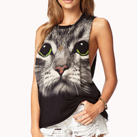 Black Cat Face Print Sleeveless Shirt