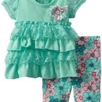 Little Lass Baby-Girls Infant 2 Piece Capri Set with Broach, Turquoise, 6-9 Months