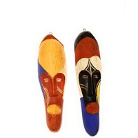 "2 Pieces of 12"" African Gabon Cameroon Wood Fang Mask: Multicolor"