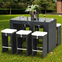 Outsunny 7pc Rattan Dining Table Set - Black