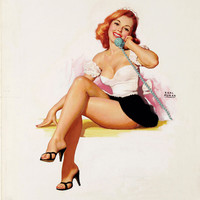 Pin-Up Girl Wall Decal Poster Sticker - Untitled, 1951 - Red Hair Redhead Pinup Pin Up
