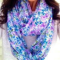 Spring Floral Infinity Scarf in Purple and Blues