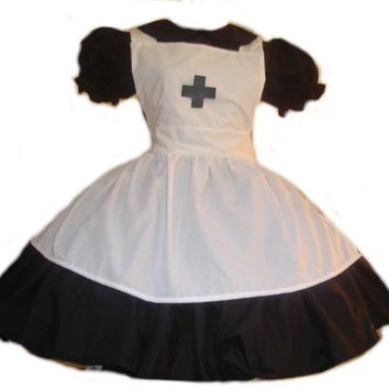 Gothic Nurse  Black Dress and White Apron with Cross Halloween Costume Custom Size Plus Size Cosplay Costume Cotton Dress